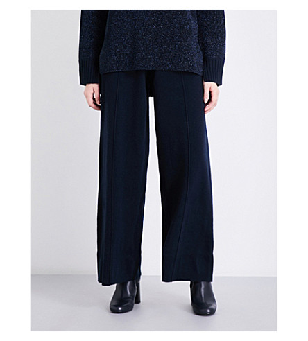 PRINGLE OF SCOTLAND Wide high-rise knitted trousers (Midnight