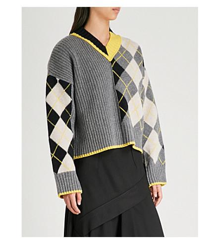 PRINGLE OF SCOTLAND Checked wool cropped jumper (Grey+melange