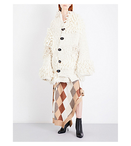 PRINGLE OF SCOTLAND Oversized chunky-knit cardigan (Cream