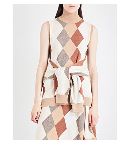 PRINGLE OF SCOTLAND Sleeveless argyle waffle-knit cashmere top (Camel+variation
