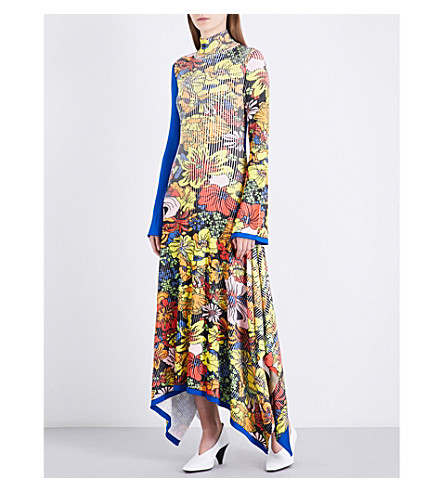 PRINGLE OF SCOTLAND Turtleneck floral-print ribbed-knit maxi dress (Floral+multi+royal+blue