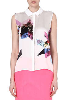 PREEN Printed silk sleeveless shirt