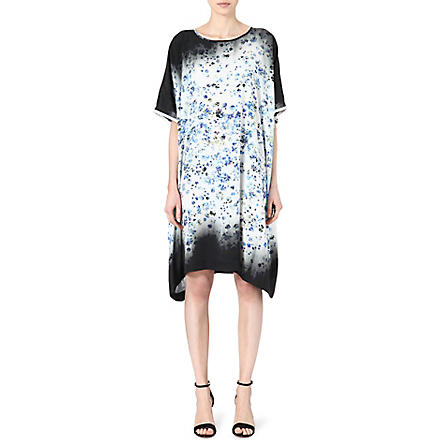 PREEN Floral-print satin dress (Forget+me+not