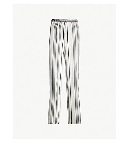 JIL SANDER Gianmarco striped high-rise wide-leg silk trousers (Open white