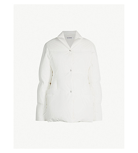 JIL SANDER Longline shell-down padded jacket (Natural