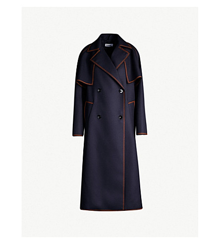 JIL SANDER Guitar contrast-stitched wool-twill trench coat (Dark blue