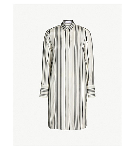 JIL SANDER Striped silk shirt dress (Open white