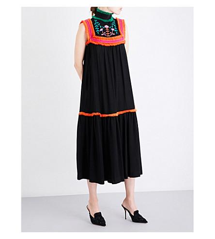 VERONIQUE BRANQUINHO Floral-embroidered ruffle-trim twill maxi dress (Nero