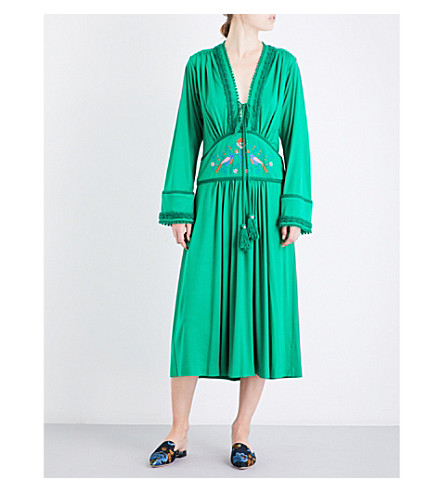 VERONIQUE BRANQUINHO Floral-embroidered tassel-tie jersey maxi dress (Green