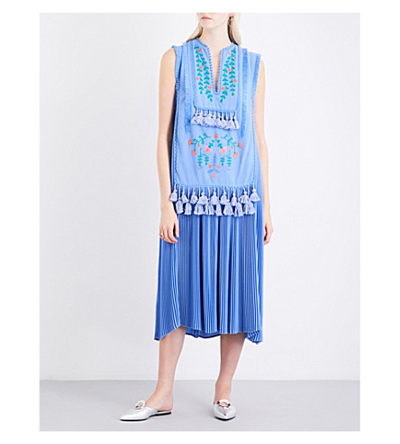 VERONIQUE BRANQUINHO Floral-embroidered tassel-detail crepe midi dress (Celeste