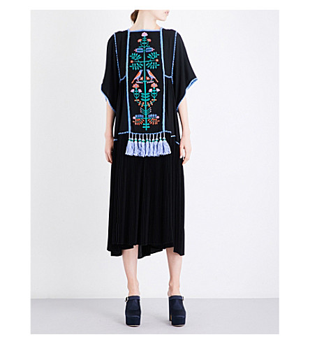 VERONIQUE BRANQUINHO Floral-embroidered tassel-detail crepe midi dress (Nero