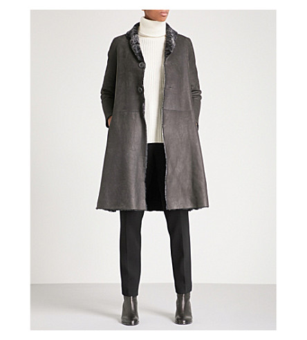 KARL DONOGHUE Reversible single-breasted leather and shearling coat (Flannel