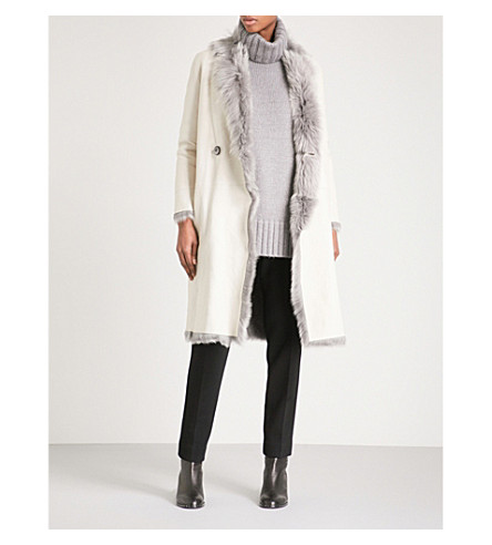 KARL DONOGHUE Reversible double-breasted leather and shearling coat (Macadamia+grey+milange