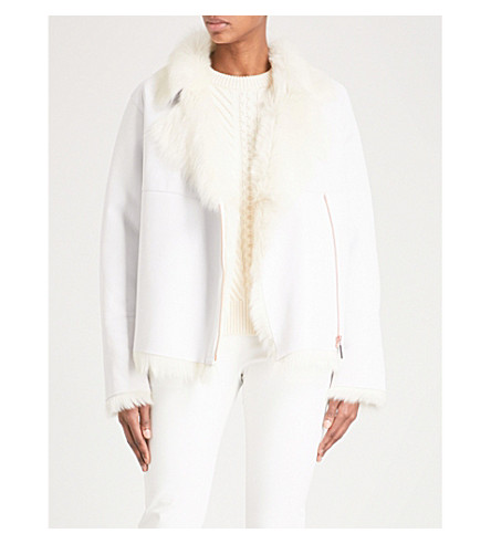 KARL DONOGHUE Shearling-collar leather aviator jacket (Paper+macadamia