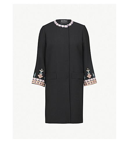 ETRO 刺绣弹力羊毛夹克 (黑色 + 多