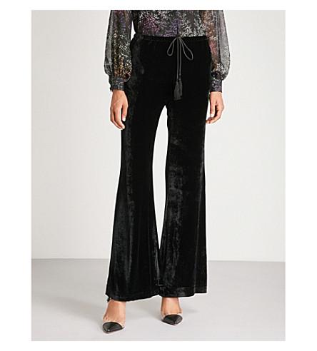 ETRO Drawstring-tie high-rise flared velvet trousers (Black