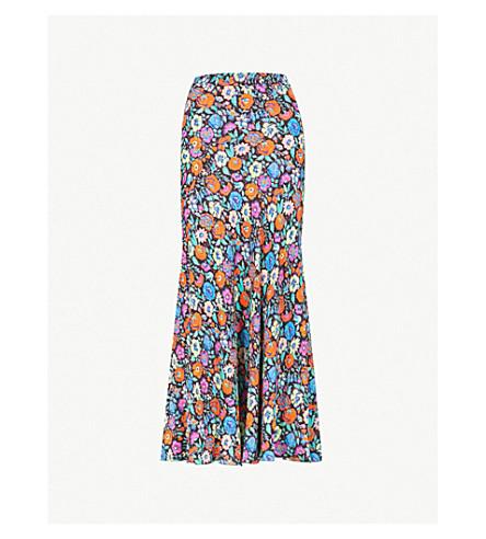 ETRO Floral-print silk midi skirt (Black+multi