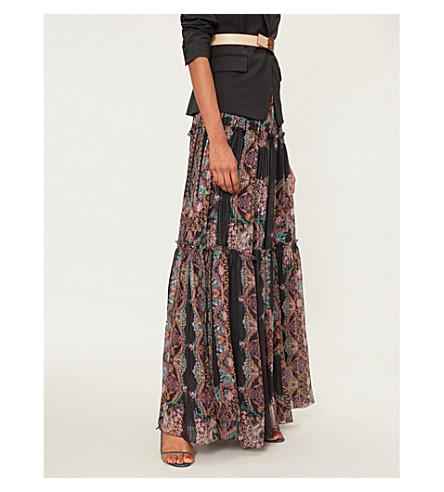 ETRO Floral-print silk maxi skirt (Black+multi