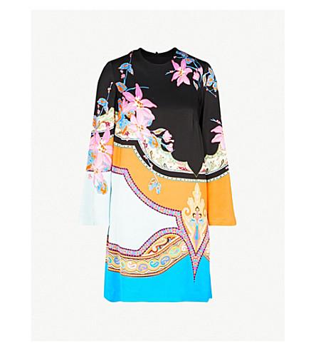 ETRO Floral-print crepe tunic dress (Blue+multi