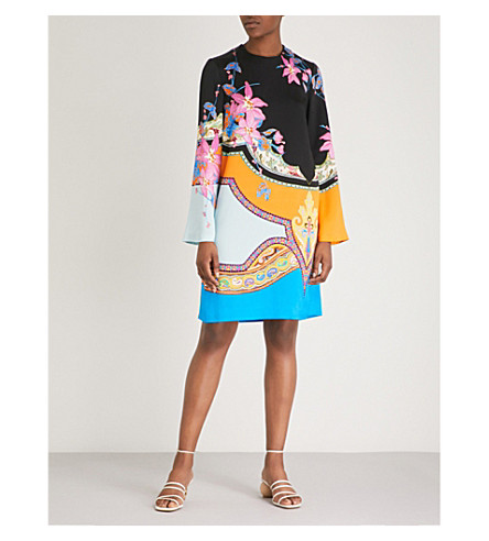 ETRO Floral-print crepe tunic dress (Blue+multi