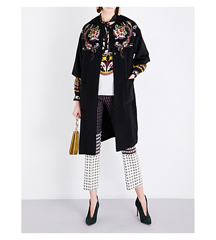 ETRO Floral-embroidered wool-blend coat (Black