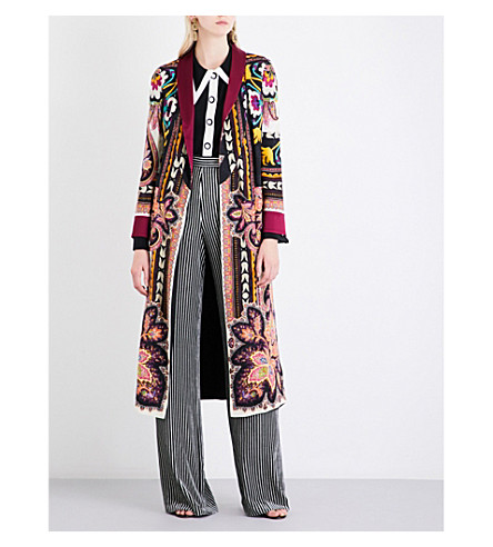ETRO Floral and paisley-pattern reversible satin coat (Multi