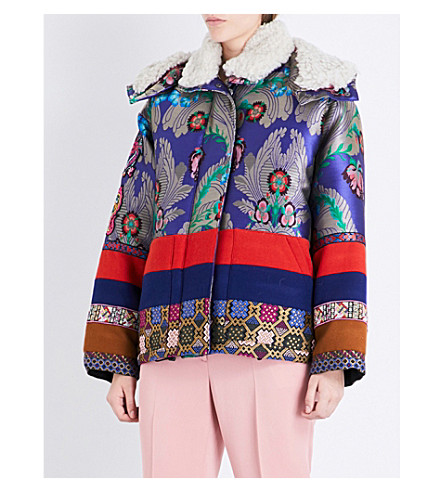 ETRO Oversized shearling-trim satin-jacquard and wool-felt jacket (Purple+multi
