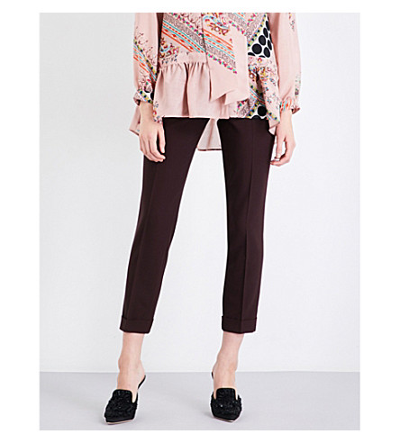 ETRO Straight cropped mid-rise wool trousers (Burgundy