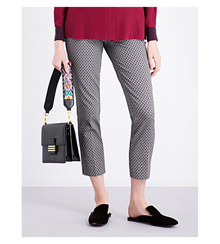ETRO Geometric cotton-blend trousers (Black