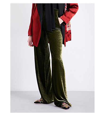 ETRO High-rise wide-leg velvet trousers (Green