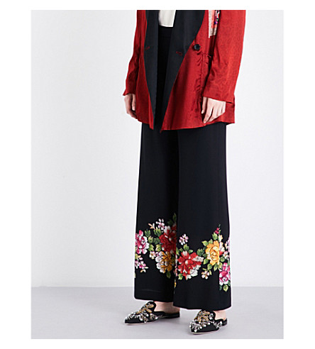 ETRO Floral-print wide-leg high-rise silk trousers (Black