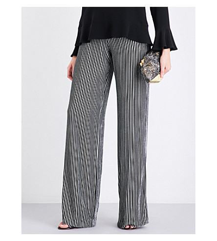 ETRO Striped wide-leg velvet jogging bottoms (Black+white