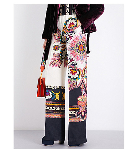 ETRO Palazzo wide-leg silk-crepe trousers (Multi