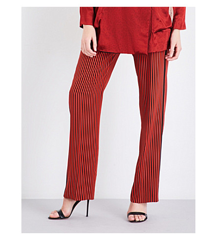 ETRO Striped wide-leg silk-crepe jogging bottoms (Red
