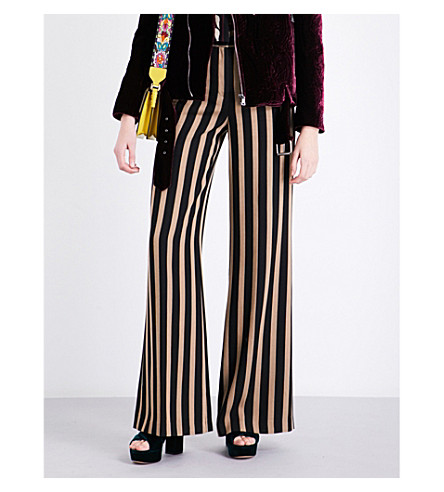 ETRO Striped wide-leg woven trousers (Black+beige