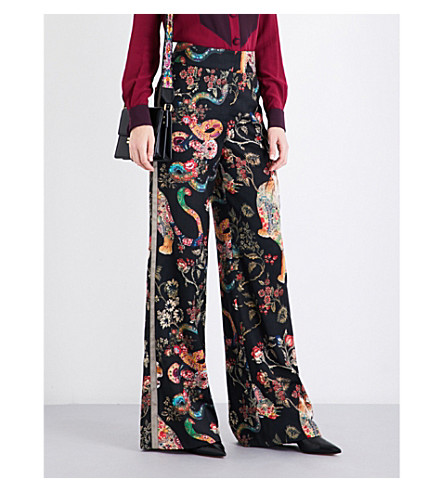 ETRO Floral and tiger-print wool-twill trousers (Black