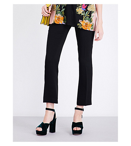 ETRO Straight cropped mid-rise crepe trousers (Black