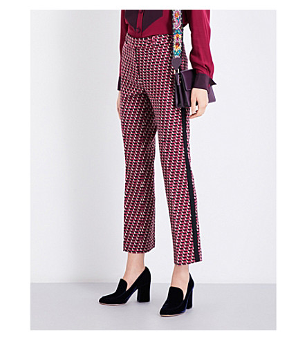 ETRO Geometric jacquard wool-blend trousers (Pink