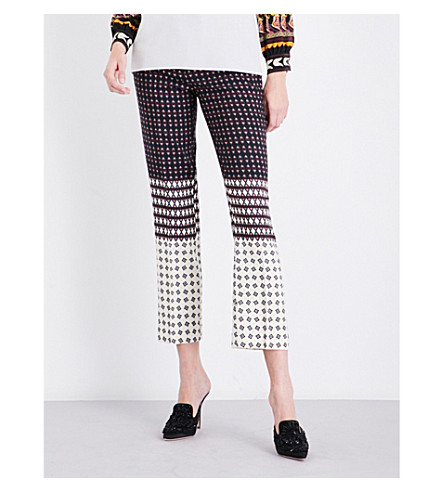 ETRO Handkerchief-print high-rise cropped wool-blend trousers (Multi