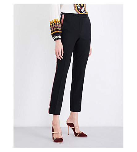 ETRO Ribbon-trim straight cropped mid-rise wool trousers (Black