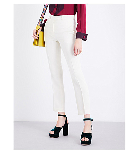 ETRO Straight-leg crepe trousers (White