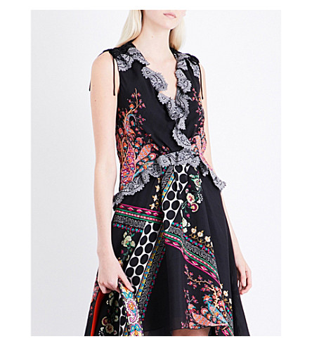 ETRO Floral and paisley-print silk top (Black