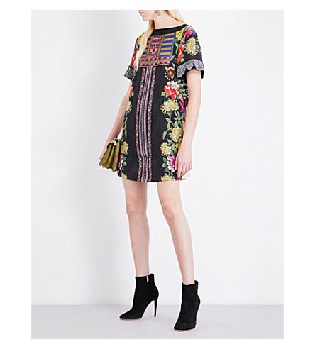 ETRO Floral-print crepe tunic (Black+multi
