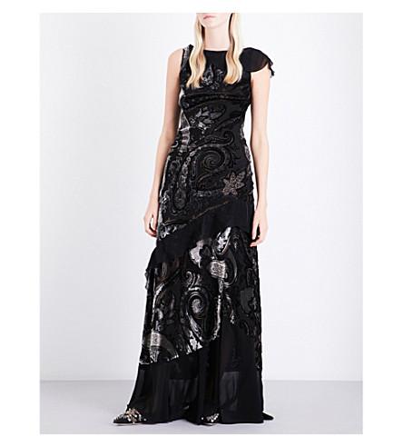 ETRO Maxi floral devoré dress (Black