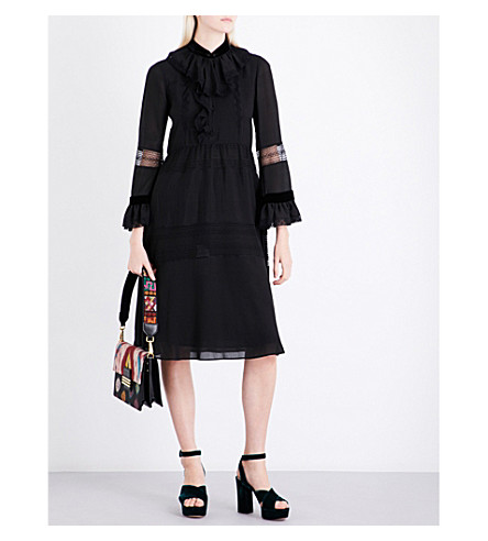 ETRO Ruffled lace-trim silk dress (Black