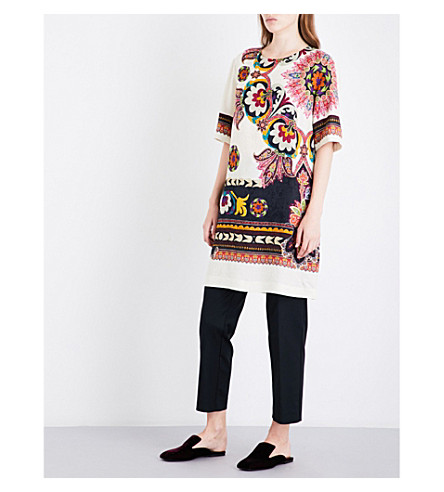 ETRO Floral and paisley-print crepe tunic (Multi