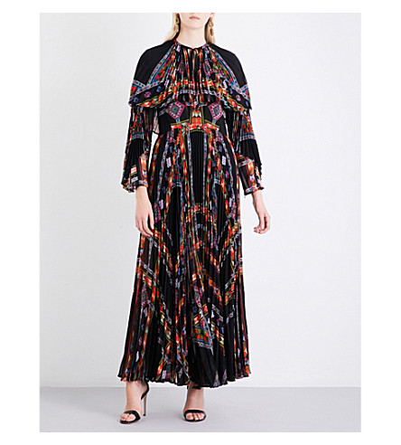 ETRO Geometric-print pleated chiffon maxi dress (Black