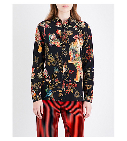 ETRO Floral and tiger-print silk-crepe shirt (Multi+black