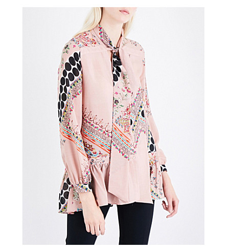 ETRO Pussybow floral-print silk-crepe blouse (Pink