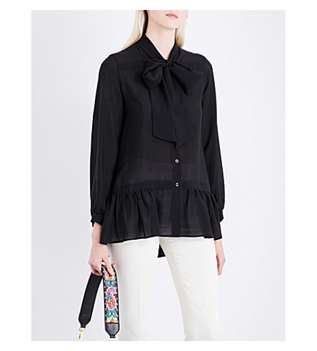ETRO Tie-neck silk blouse (Black